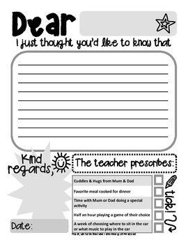 positive note home template fun teacher prescription reward in