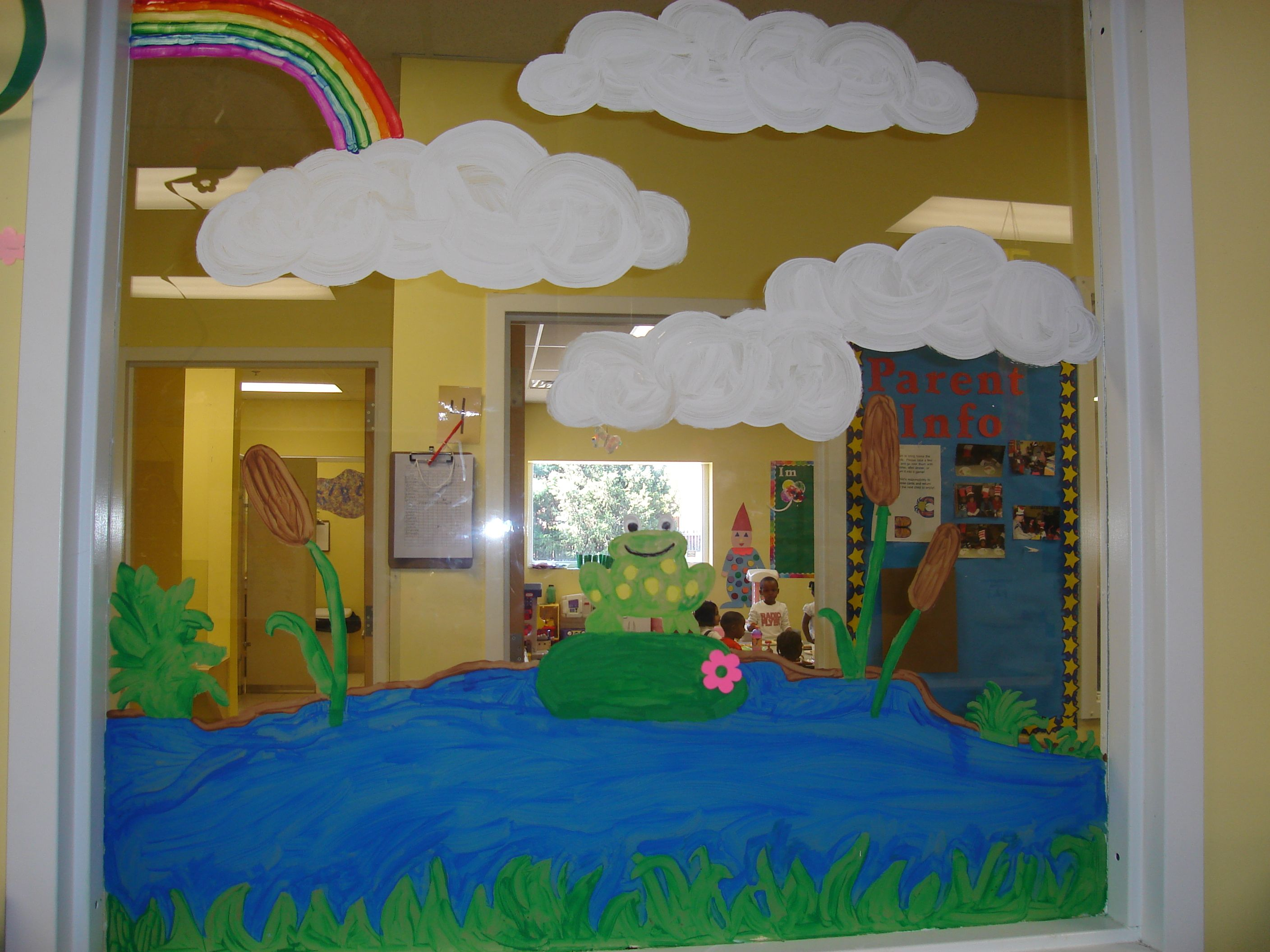 Classroom Window Design ~ Frog classroom decorations painted a on