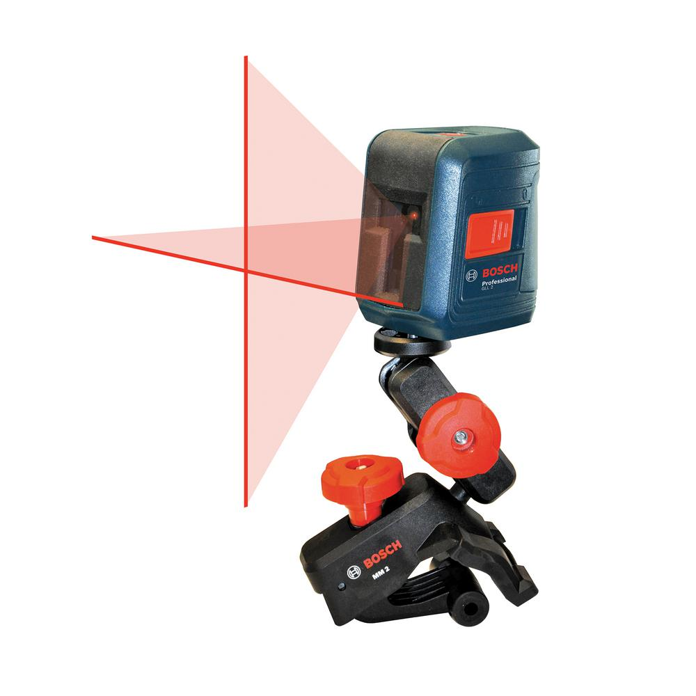 Bosch 30 Ft Self Leveling Cross Line Laser Level With Clamping Mount Home Depot Clamp Bosch Tools
