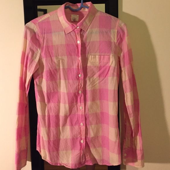 "J. Crew ""The Perfect Shirt"" J. Crew The Perfect Shirt. 100% cotton. Button up. Front pocket. Good used condition, no flaws or damages! Just been sitting in my closet. Pink and cream checkered. J. Crew Tops Button Down Shirts"