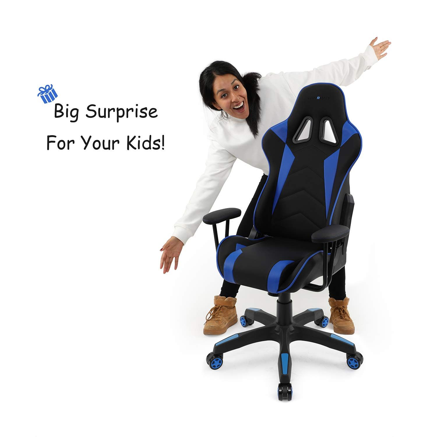 Fenix Mini Gaming Racing Chair Ergonomic Adjustable Skinfriendly Vinyl Kids Children Chair Special Design As Momhugging Blue L Kids Chairs Racing Chair Kids