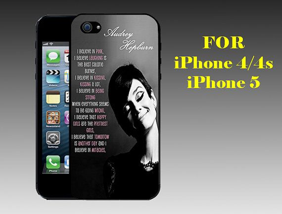 Audrey Hepburn Quotes Pink  - Print on Hard Cover iPhone 5 Black Case - iPhone 4/4s Case
