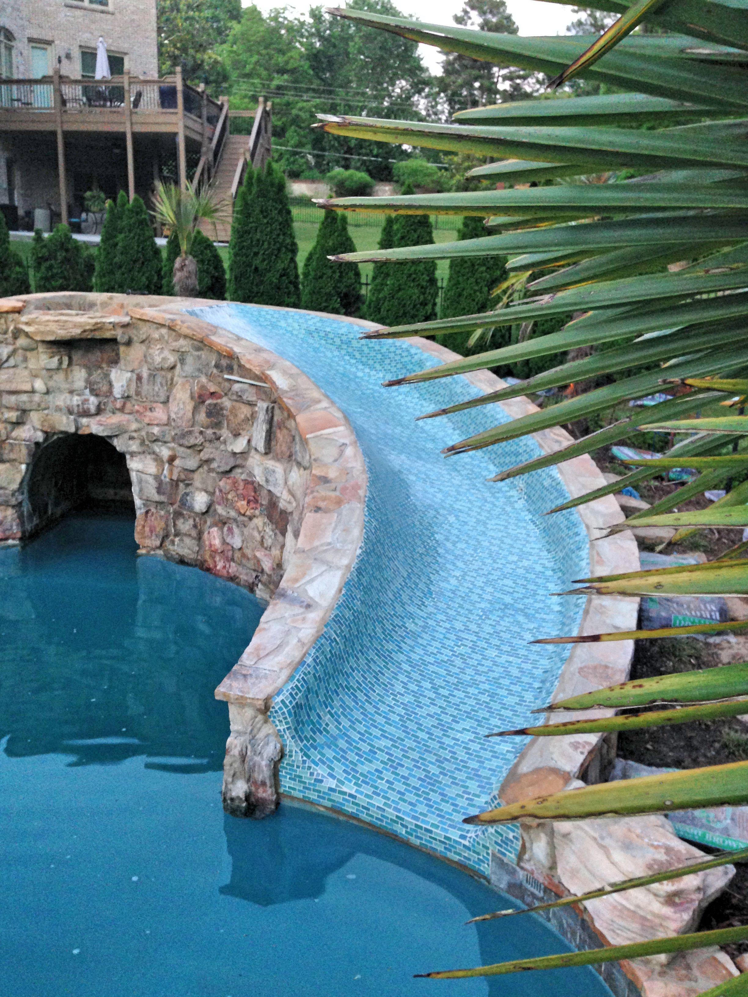 Customer Installation Photo All Glass Water Slide Using Crystal Series Glass Tile Blends Www Aquablumosa Mosaic Pool Pool Water Slide Swimming Pool Hot Tub