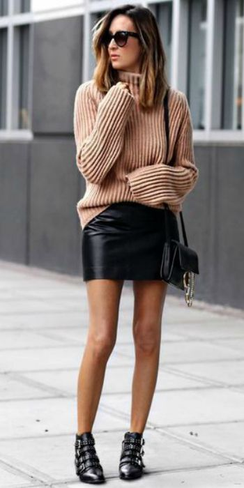 e57780405eae6 Stephanie Mooney + rocking + sweater and skirt combo + charmingly preppy  style + we adore + similar look + leather buckled boots + edgy touch +  Stephanie ...