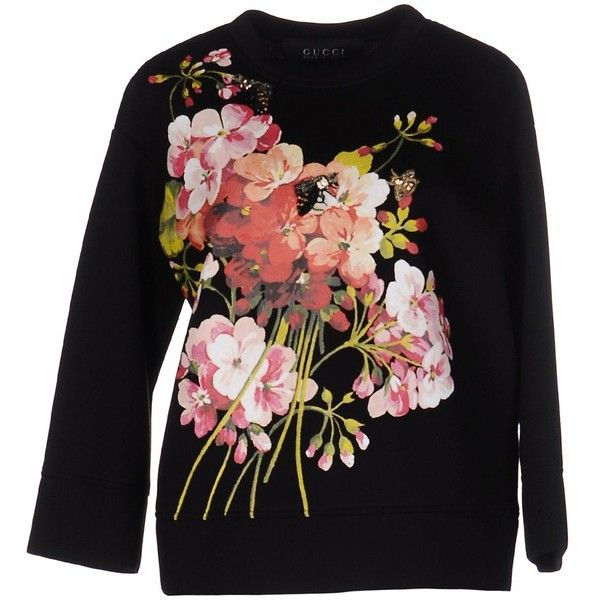 Gucci Sweatshirt ($735) ❤ liked on Polyvore featuring tops, hoodies, sweatshirts, black, long sleeve sweatshirt, gucci sweatshirt, patterned sweatshirts, print sweatshirt and gucci tops