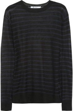 ShopStyle: Alexander Wang Striped fine-knit sweater