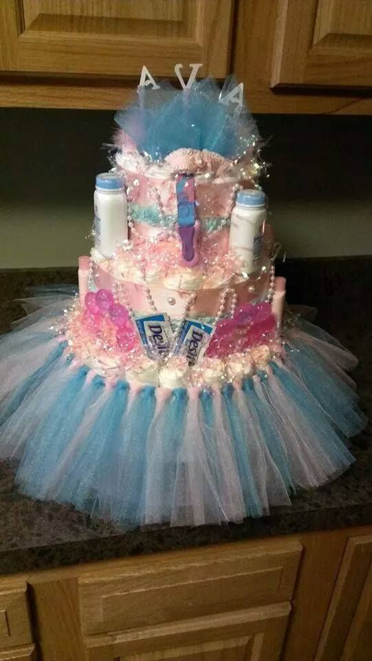 Back Of Tutus And Pearls Diaper Cake