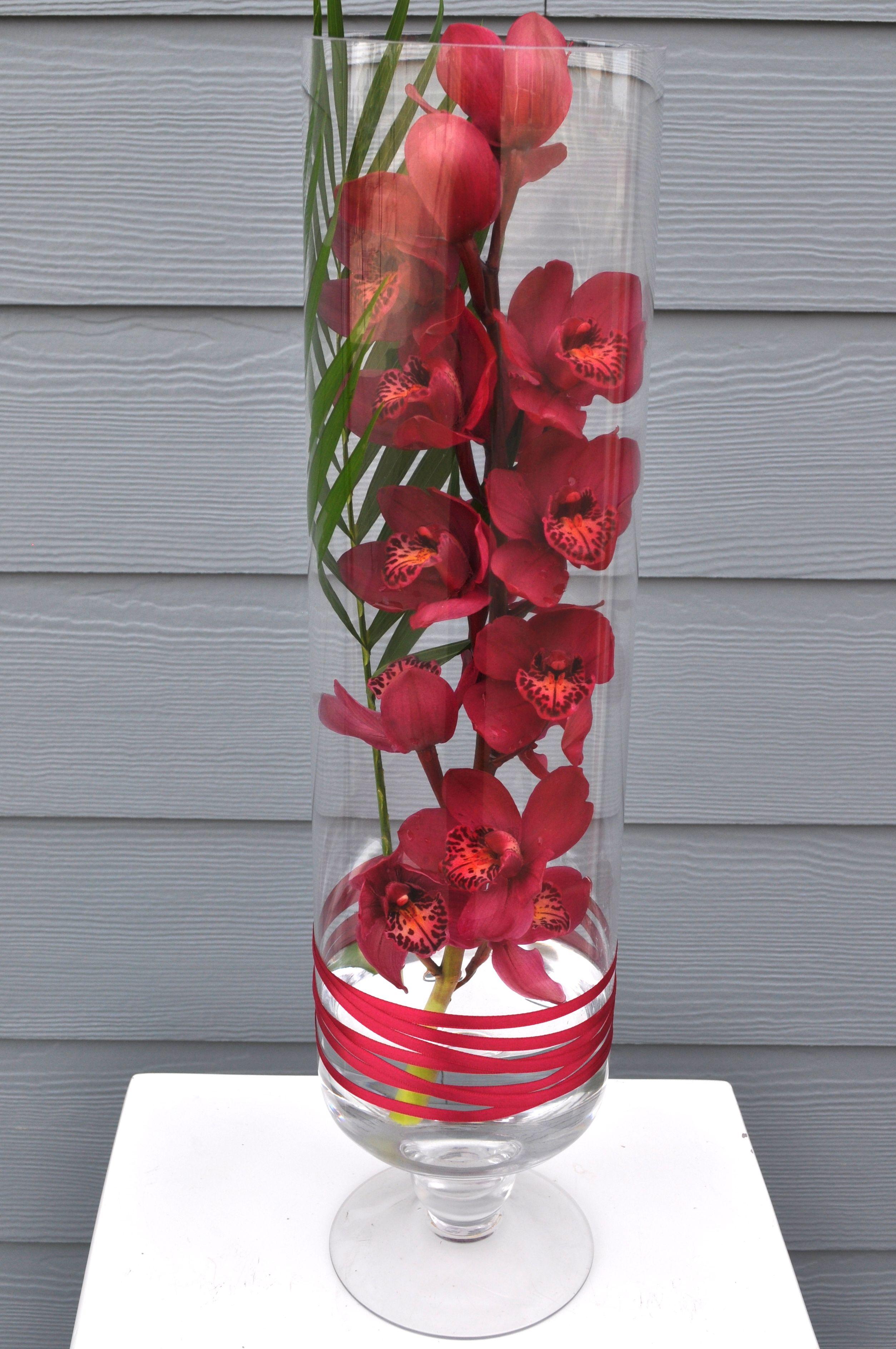 Red Orchid Arrangement (With images) Orchid arrangements