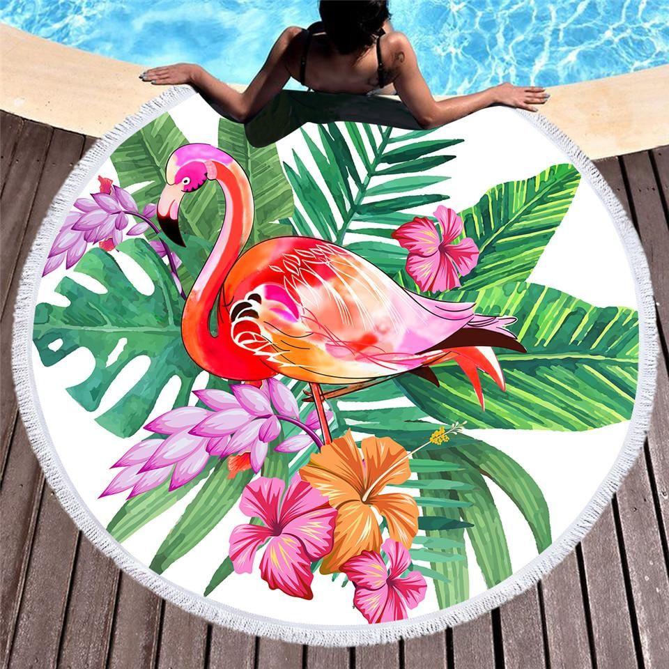 Summer Tropical Beach Flamingos All Over Beach Towel