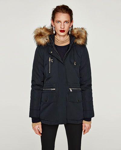 parka en tissu technique capuche parkas manteaux femme zara france mode pinterest. Black Bedroom Furniture Sets. Home Design Ideas