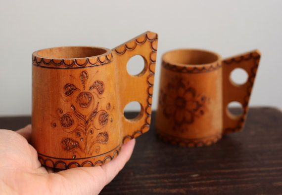 Vintage Wooden Cup Set Of 2 Swedish Small Wood By Littleretronome
