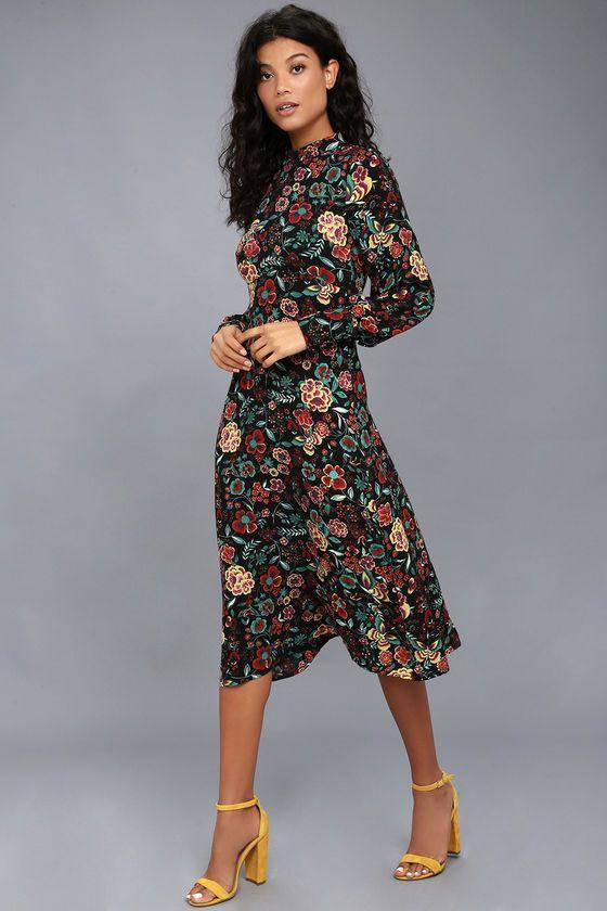 uk store best shoes good selling Retro Ready Black Floral Print Long Sleeve Midi Dress | Long ...