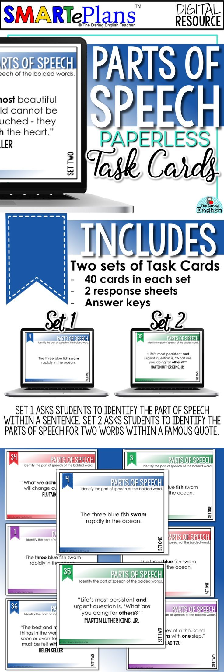 parts of speech task cards for google drive paperless learning for