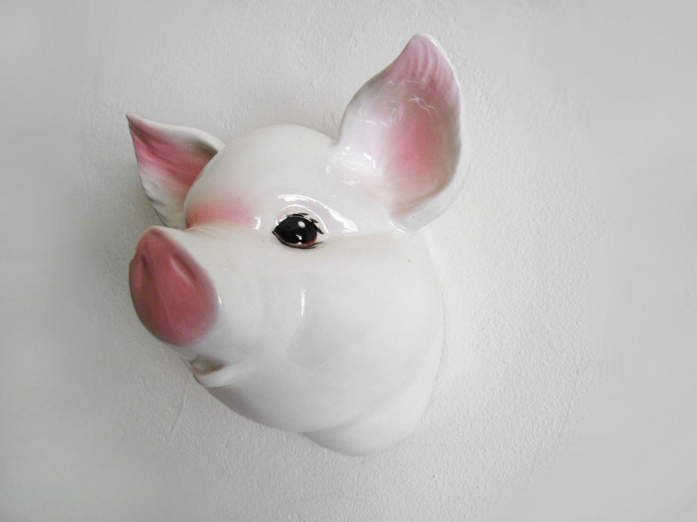 vintage Ceramic Pink and White Pig Head