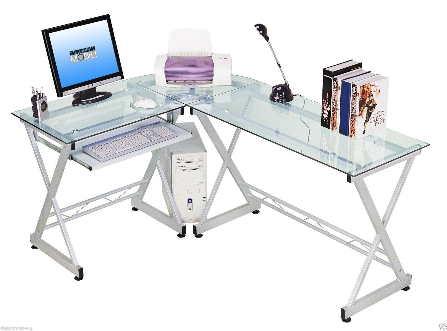 Executive office table with glass top office furniture home computer desk and table office furniture