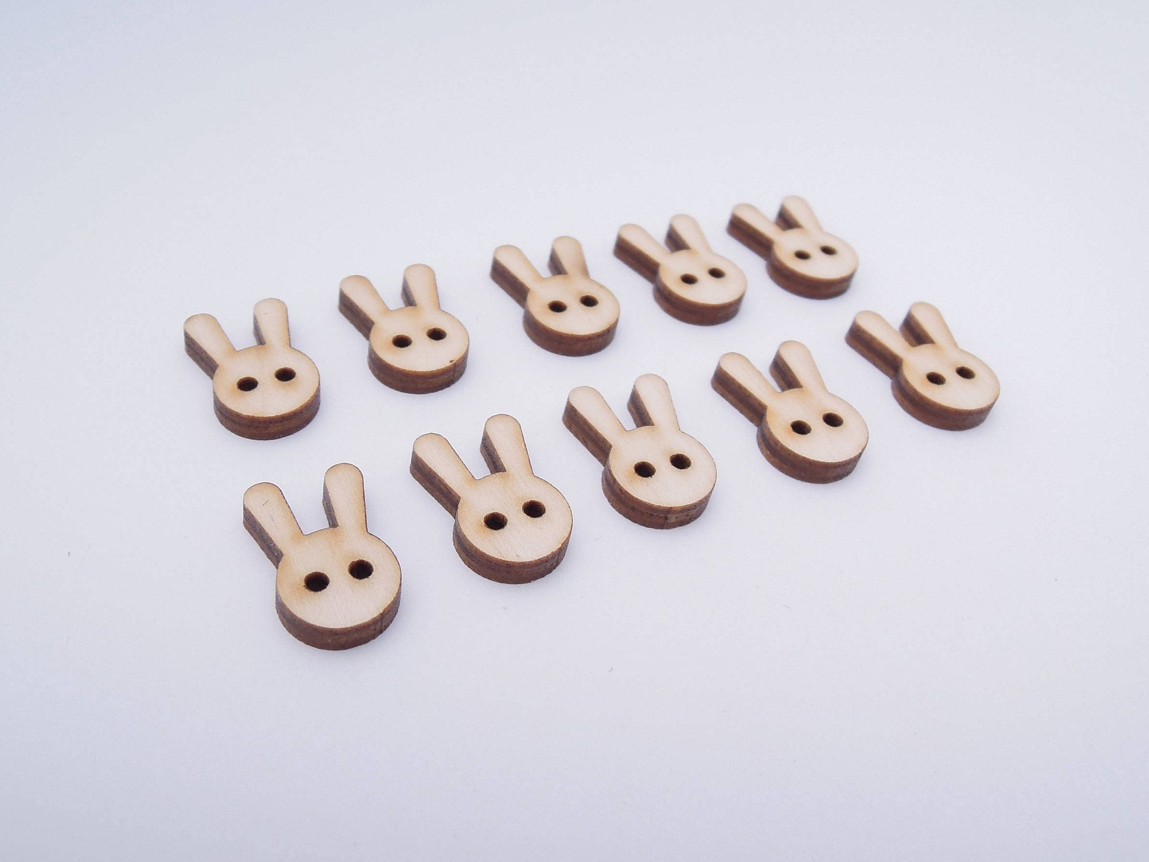 Wooden Rabbit Buttons for Crafts - Laser Cut by AndedSupplies on Etsy