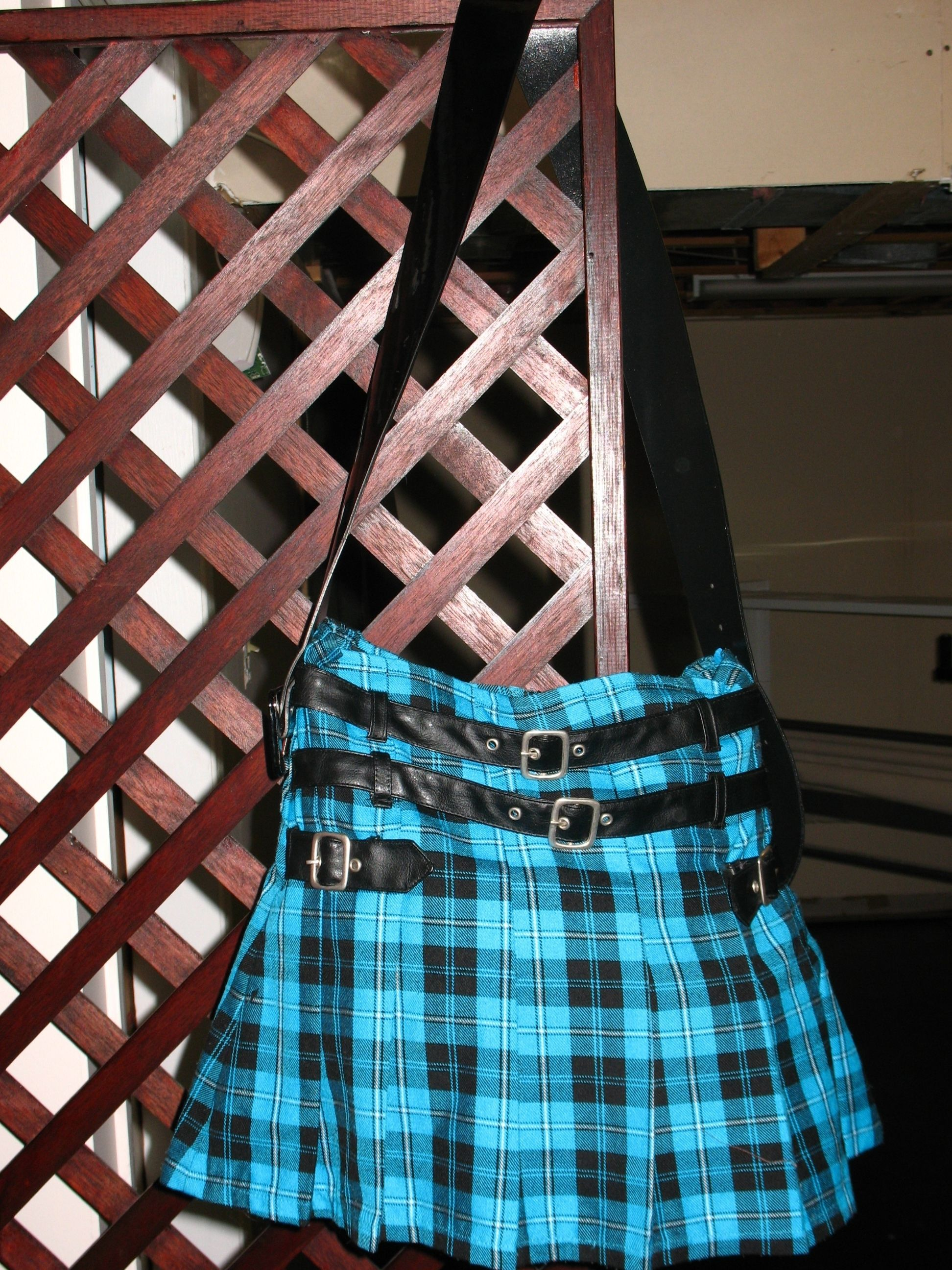 Made with a girls plaid skirt.