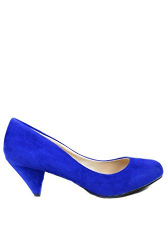 SASSY SEXY OULIVIA Women's Formal Evening Dance Classic Suede Low Heel Pump New