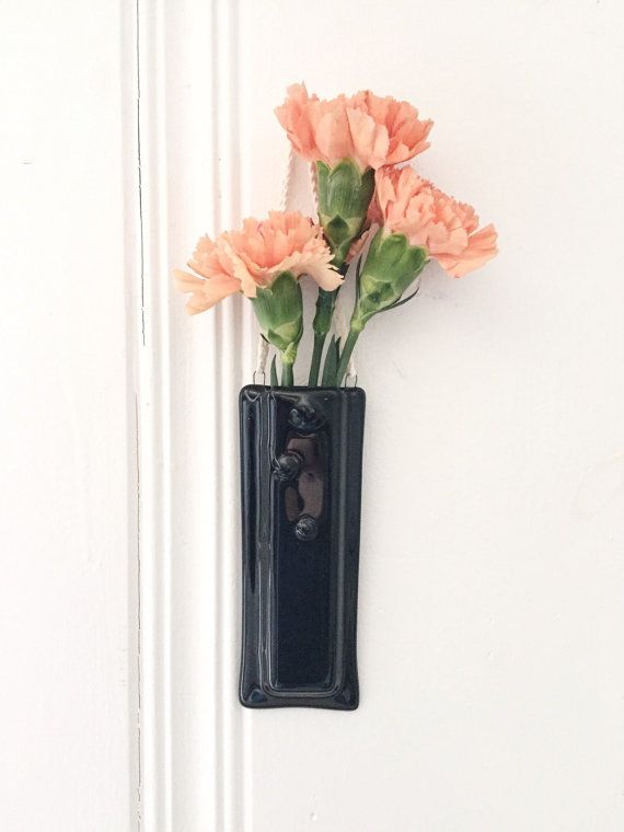 Hanging Wall Vase Fused Glass Vase Black Vase Black Glass Wall