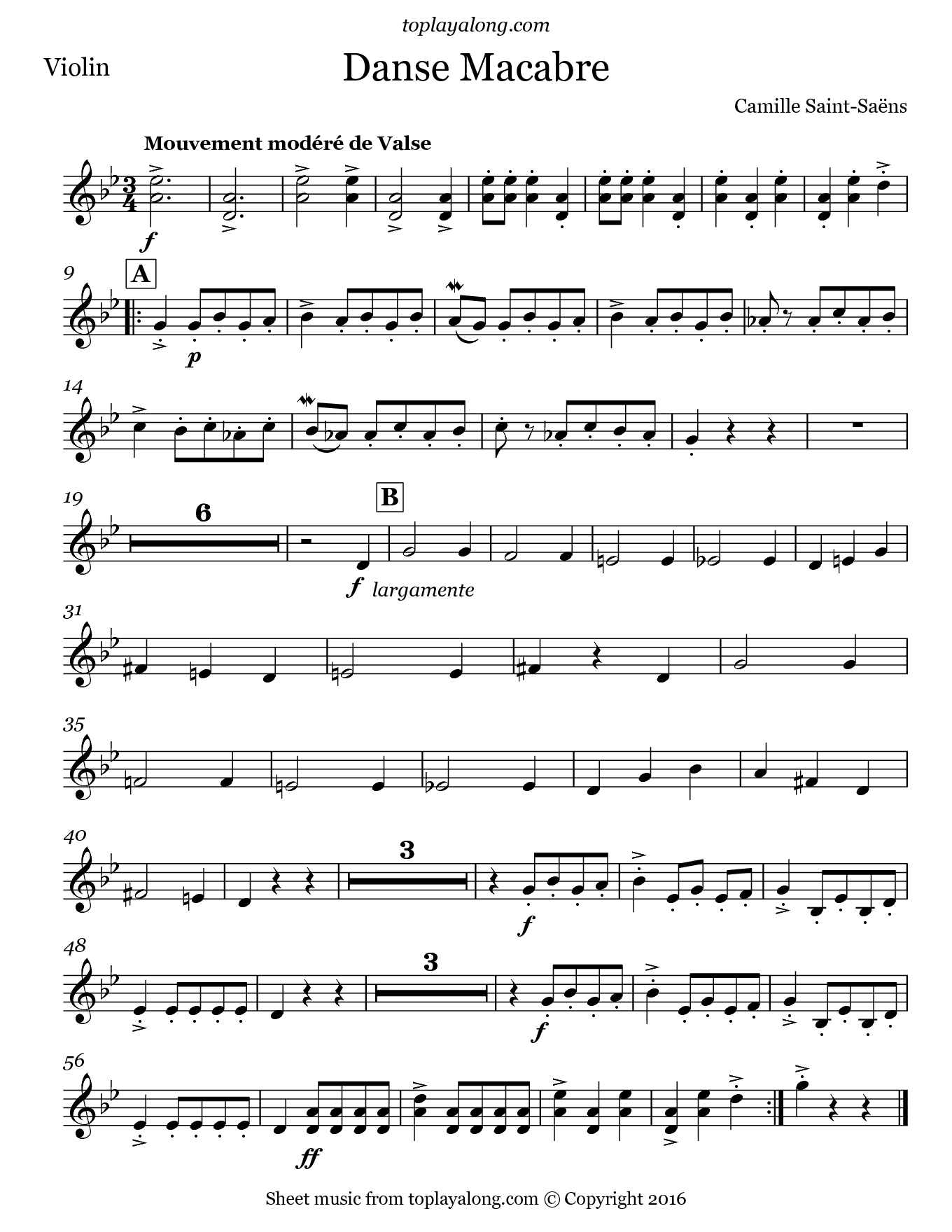 Danse Macabre by Saint-Saëns  Free sheet music for violin