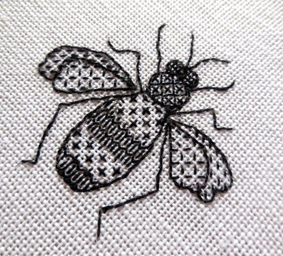 Bee blackwork embroidery kit image 1