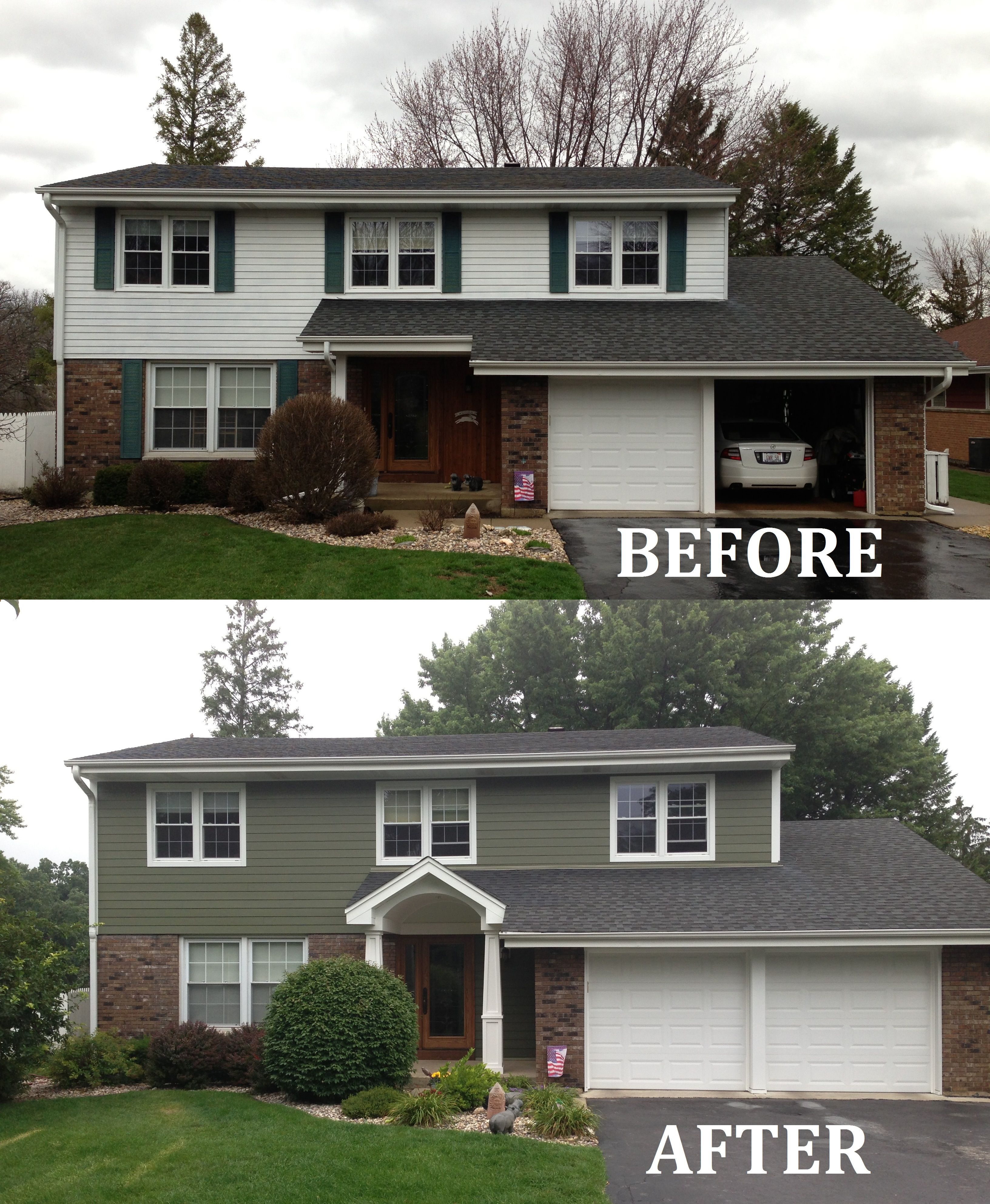 James Hardie Siding And Portico Redesign Arlington Heights Brick Exterior House Red Brick House Exterior Colonial House Exteriors