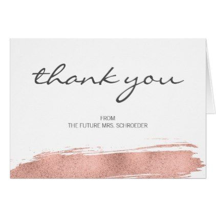 rose gold brushstroke bridal shower thank you card faux gifts style sample design cyo