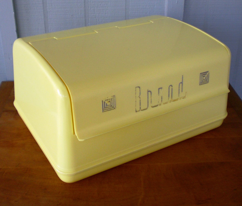 Vintage Lustroware 1950s Plastic Bread Box Lift Front Mid Century
