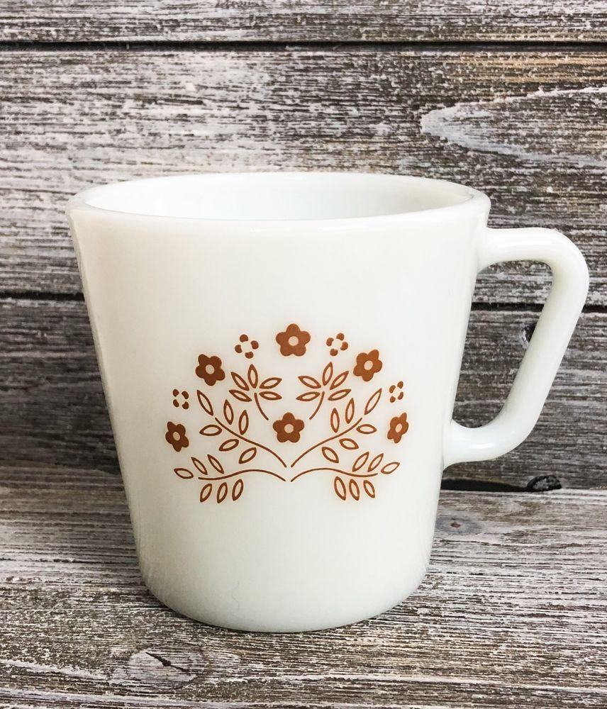 1ec0104d5cb Vintage Pyrex Milk Glass Coffee Cup Tea Mug D Handle White Brown ...
