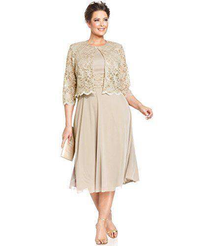 8ec2834cd07 Jessica Howard Women s Plus Gold Sequin Lace Dress Set  0…
