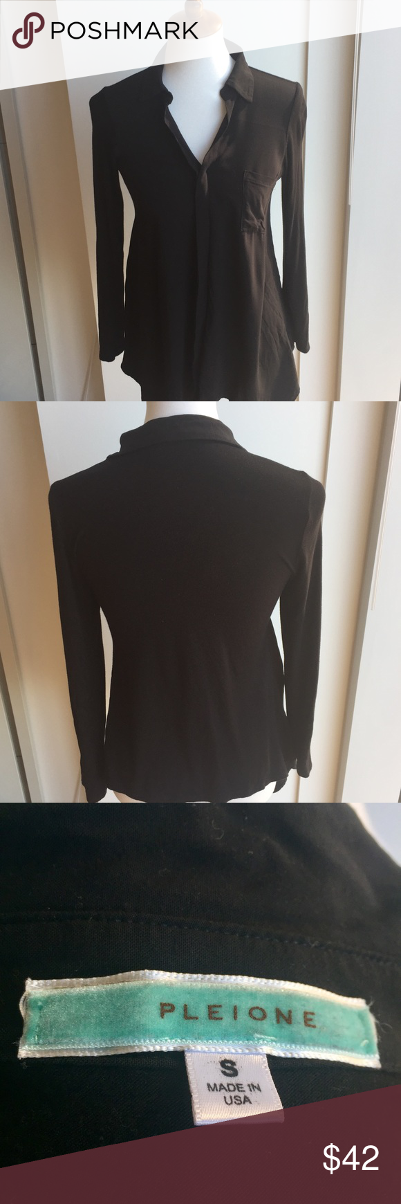 Pleione Black Blouse Pleione blouse - worn once - one pocket - rolled tab sleeves with collar - drapes nicely - very soft Pleione Tops Blouses