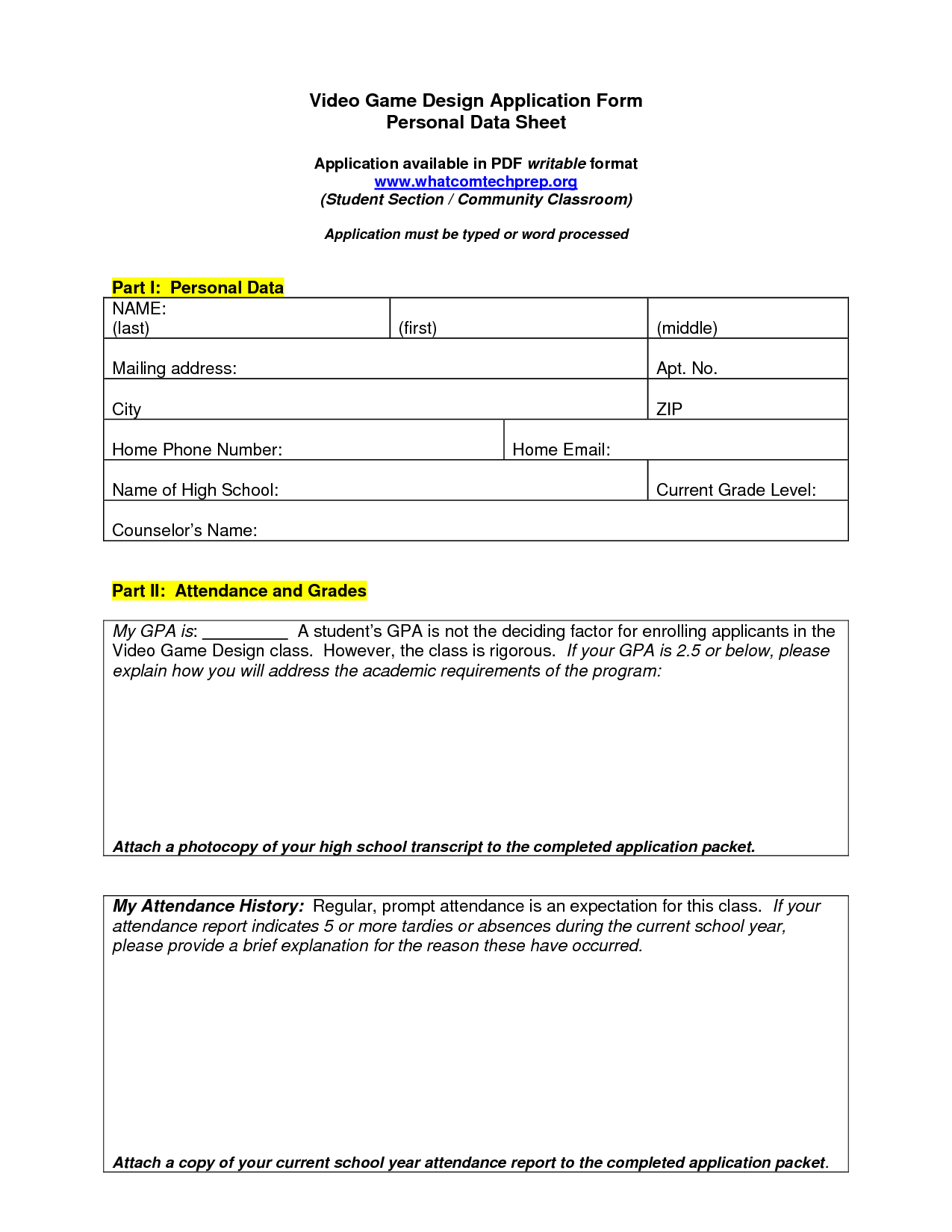 Game Designer Job Application Form