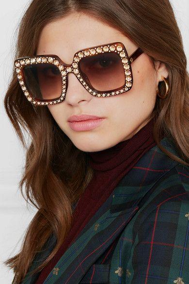 c42ccda9b5 Gucci - Oversized Crystal-embellished Square-frame Tortoiseshell Acetate  Sunglasses