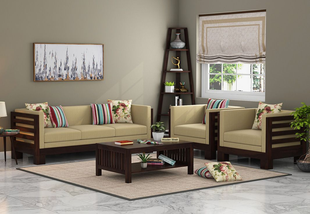 Buy Hizen Wooden Sofa 3 1 1 Set Walnut Finish Online In India With Images Wooden Sofa Set Designs Wooden Sofa Set Sofa Set Designs