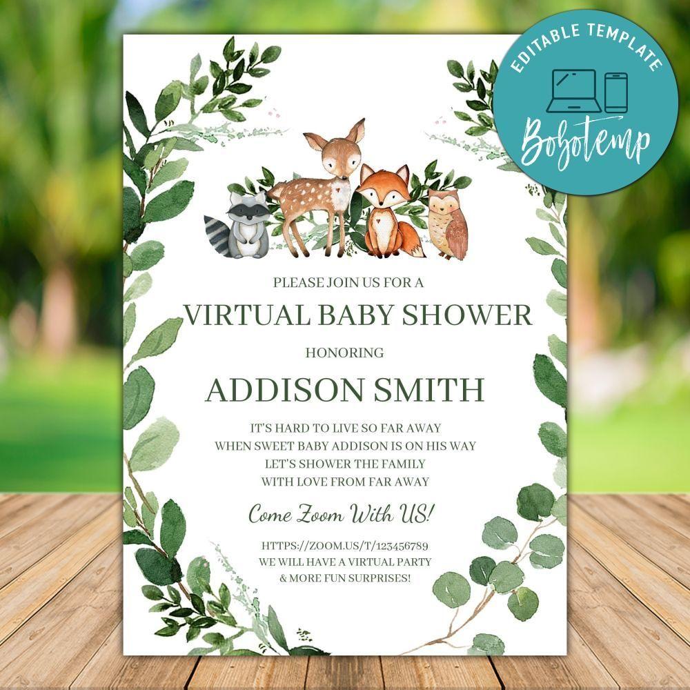 Printable Woodland Virtual Baby Shower Invitation Template Diy Bobotemp Virtual Baby Shower Invitation Virtual Baby Shower Woodland Baby Shower Invitations Boy