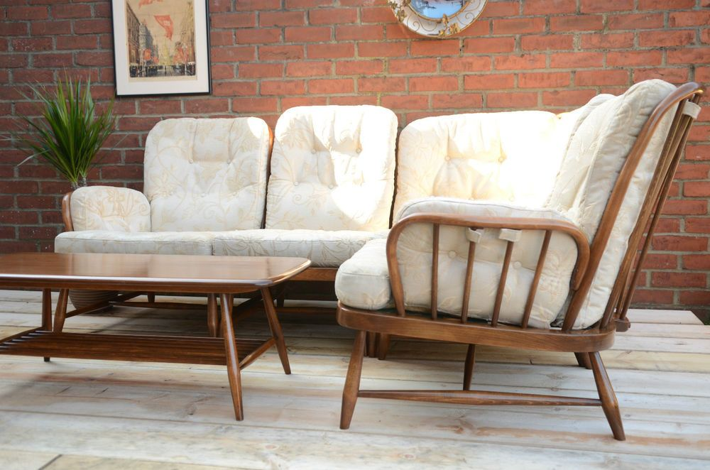 Rare Ercol Living Room Set Retro Corner Sofa L Shaped Settee Coffee Table In Home