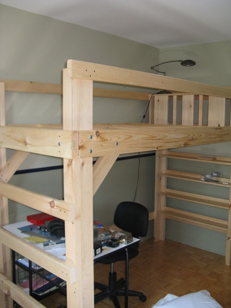 Loft bed with desk underneath  College Bed Loft Twin XL  Twin beds Lofts and Twins