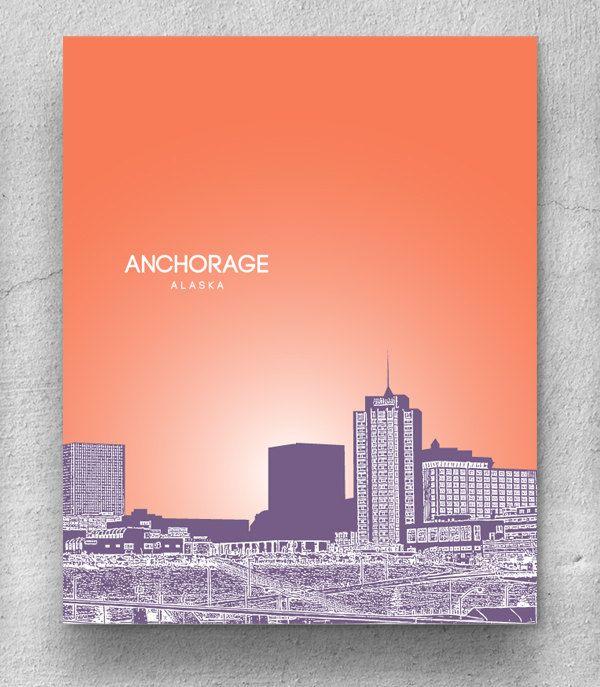 Anchorage Alaska Skyline / Home Office Nursery Skyline Art / Home Decor Art  / Any City