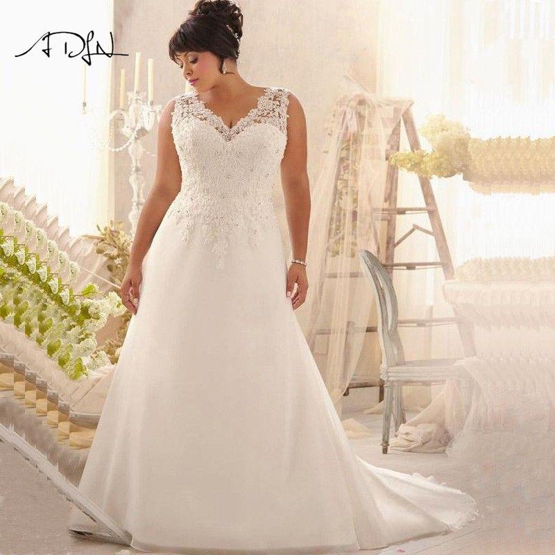Günstige Plus Size Brautkleider V-ausschnitt Appliqued Wulstige ...