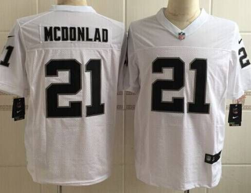 Men's Oakland Raiders #21 Dexter McDonald Nike White Elite Jersey