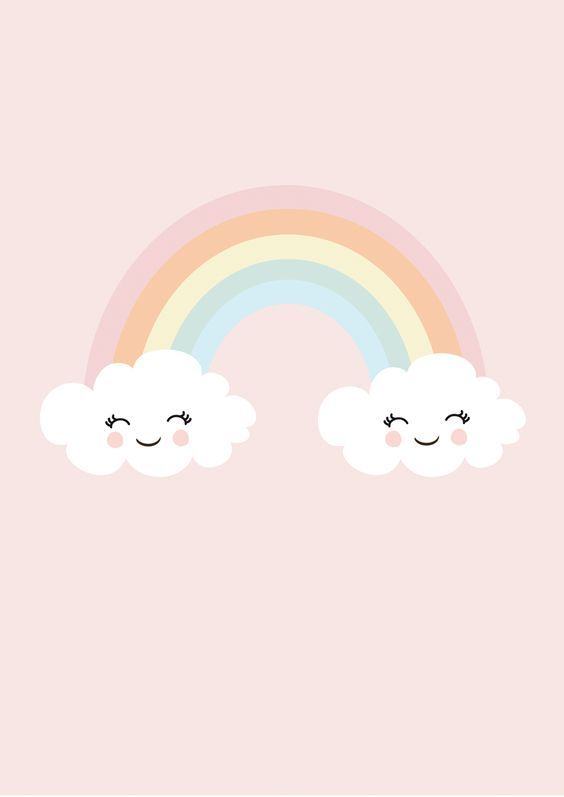 Print Happy Rainbow Pastel Clouds Rainbow Wallpaper Cute Wallpapers