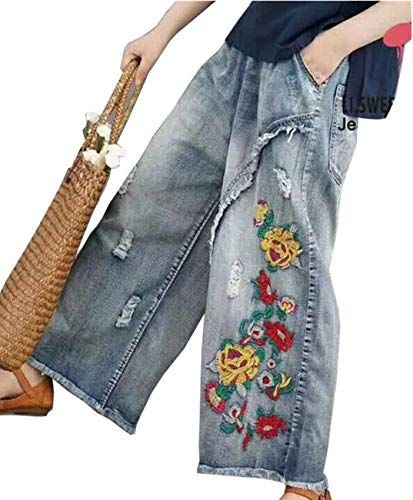 Photo of Enjoy exclusive for YESNO PW2 Women Casual Cropped Pants Loose Floral Jeans Ripped Embroidered Wide Leg online – Chicideas
