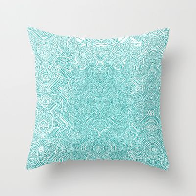 Abstract Teal Throw Pillow by Serena Gailey - $20.00