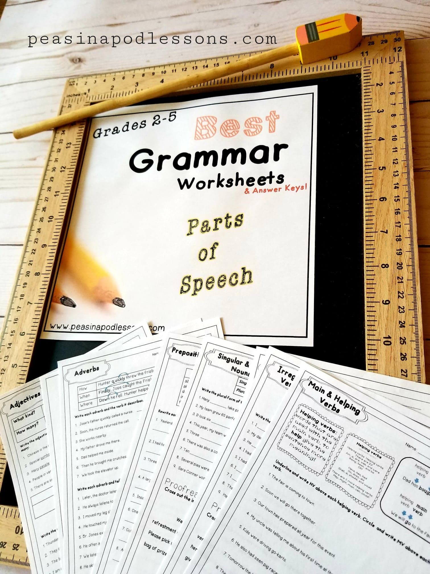 Grammar Worksheets Parts Of Speech Review Distance