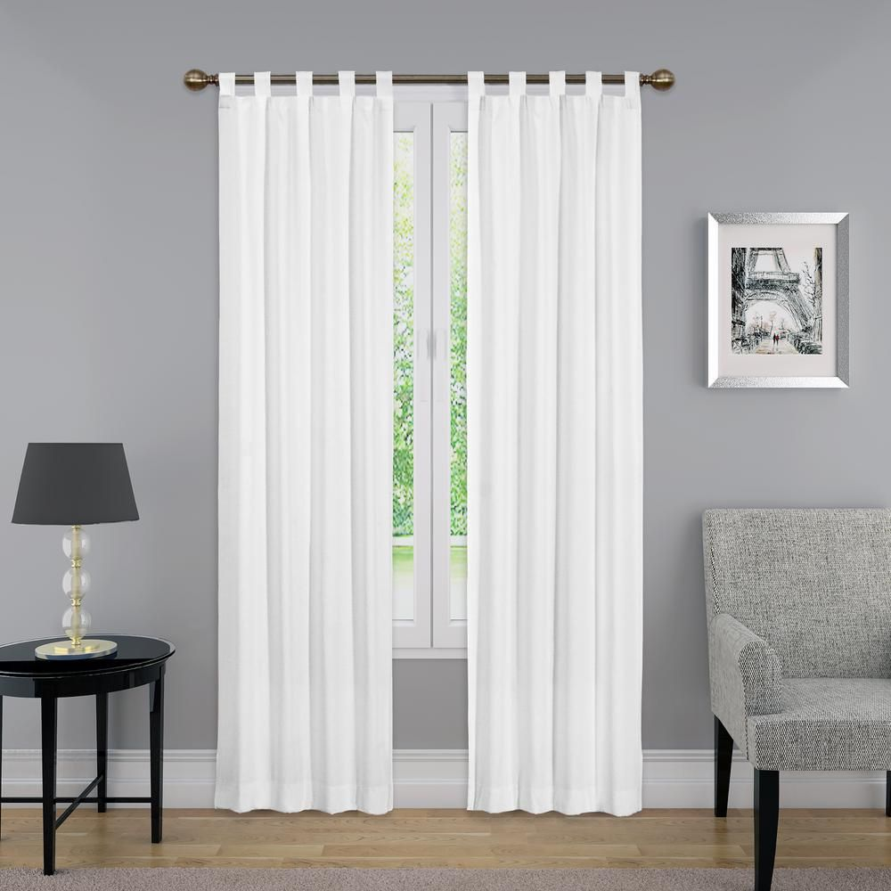 95 In L Light Filtering White Poly Cotton Tab Top Curtain Panel
