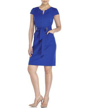 Cobalt Belted Bi-Stretch Sheath Dress