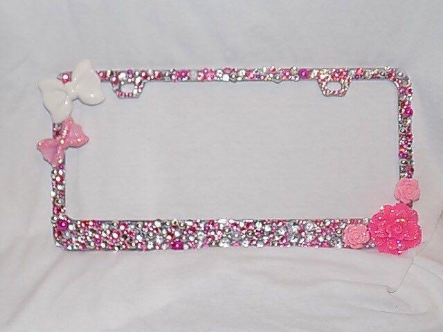 Pink and White Bling License plate frame | Bling License Plate Frame ...