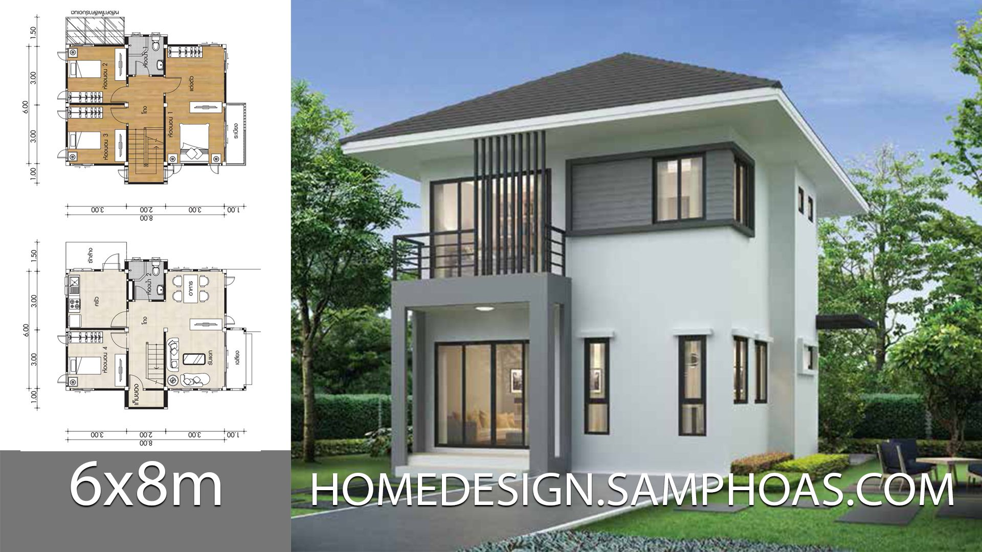 Small House Plans 7x8m With 4 Bedrooms House Plan Map Small House Plans Affordable House Plans House Plans
