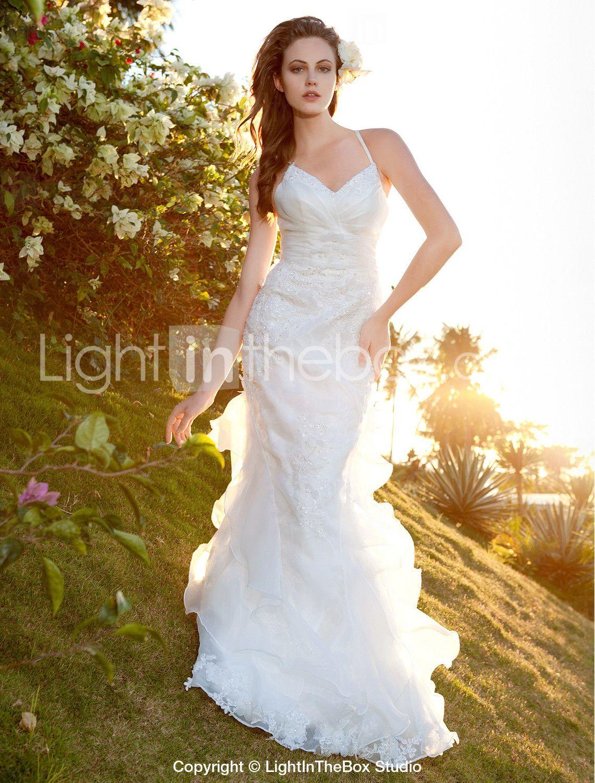 08707cbda4ec7 Trumpet Mermaid Spaghetti Straps Sweep   Brush Train Organza Lace Wedding  Dress - US  249.99