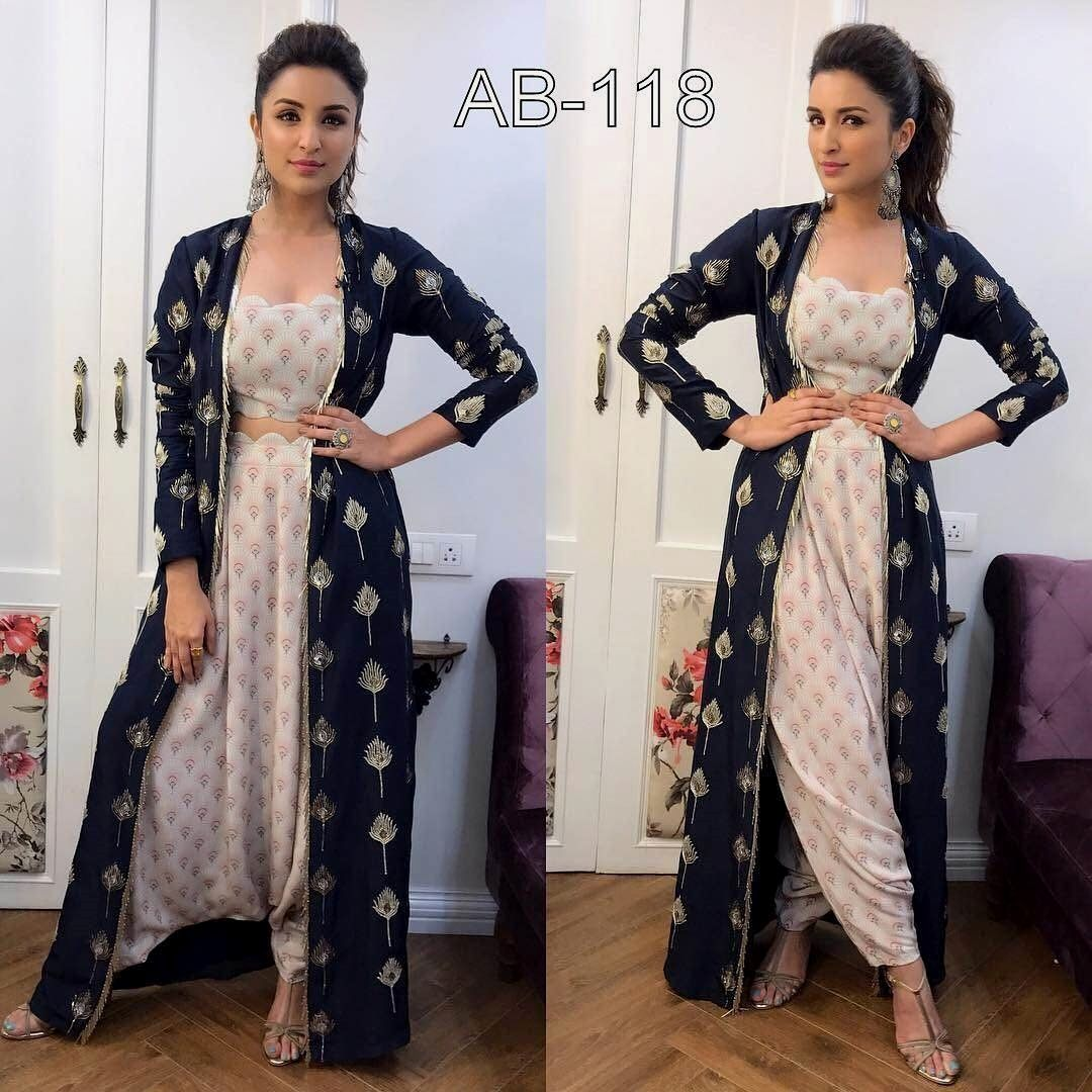 Pc blue patyala product info heavy embroidery with digital print